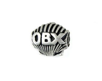 Outer Banks/OBX Scallop w/Lighthouse Large Hole Silver Bead - Compatible with ALL Popular Bracelet Brands - Made in the USA! - Item #13862