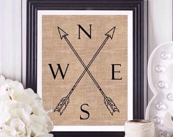 Boho decor, dorm decor, boho room decor, boho dorm decor, compass wall art, burlap wall art, boho nursery art, boys bedroom decor