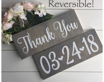 Reversible Thank You and Save the Date Wedding Date Sign, Double Sided Photo Prop Sign, Rustic Decor, Wood Wedding Decor, Engagement