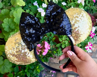 Sparkly Gold Ears with Black bow