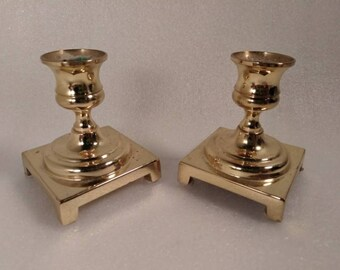 Vintage Pair of Solid Brass Footed Candlestick Holders