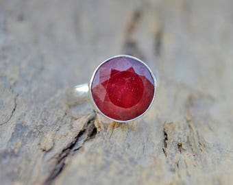 Natural Red Ruby Ring,  Round Faceted Ruby Gemstone 925 Sterling silver Ring, Birthstone Sterling silver ring, All Size