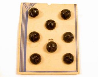 Vintage Lot Crescent Indents Black Brown Plastic Buttons Set*Still On Card*Y829