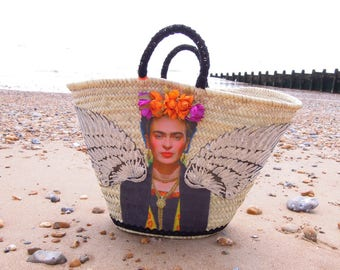 Frida Kahlo straw basket - Market basket Viva Frida - Large straw handwoven basket - Large straw basket Frida - Frida Kahlo beach bag