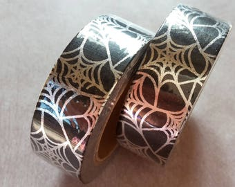 10 meters of Masking tape SPIDERweb, washi tape halloween black and silver, 1 roll of adhesive paper tape