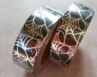 10 métres de Masking tape toile d'araignée, washi tape halloween noir et argenté, 1 rouleau de ruban adhésif en papier