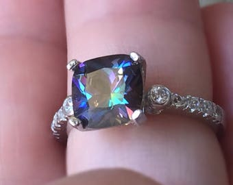 Size 6 Topaz Ring/Handmade Gemstone Ring/Handmade Lab Mystic Topaz Silver Ring/Black Topaz Ring/Free Shipping in the US./Great Sale Pricing.