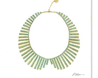 Watercolor Necklace Rendering in Yellow Gold with Turquoise printed on Paper