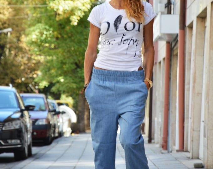 Drop Crotch Blue Denim Pants, Urban Clothing Extravagant Trousers, Casual Harem Pants with pockets by SSDfashion
