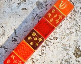 Mezuzah case in red and orange shades, Unique,modernMezuzah case, Mezuzah case handpainted in Israel