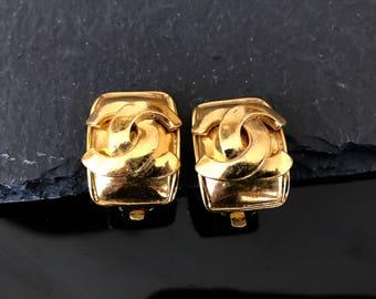 Chanel earrings, Chanel CC vintage earrings, large gold plated earrings, high fashion clip on earrings, Authentic Chanel statement earrings
