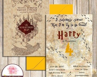Harry Potter Marauder's Map Invitation