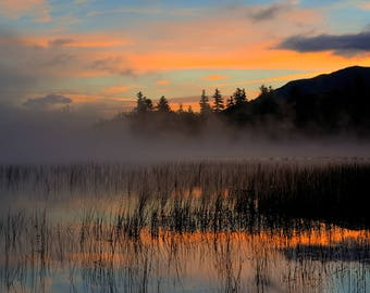 Orange Sunrise Photo from the Adirondack Mountains, Landscape Photography, Adirondack Fine Art, Landscape Print, Landscape Art, Adirondacks