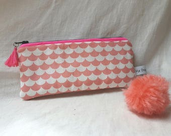 Padded cotton clutch graphic coral lined cotton Gray * 8 x 20 cm