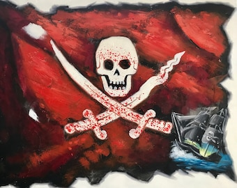 Painting of Blood Red Pirate Flag With Jolly Rogers and Pirate Ship and Skull and Cross Bones. 24x20 Original Oil Painting, Painted by Hand
