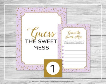 Purple and Gold Baby Shower Guess The Mess Game - Printable Baby Shower Guess The Sweet Mess Game - Purple and Gold Baby Shower - SP148