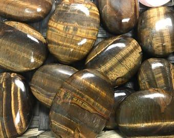 Tiger  Eye Palm Stone - 1st Chakra - Root Chakra - Reiki - Energy Healing - Tiger's Eye