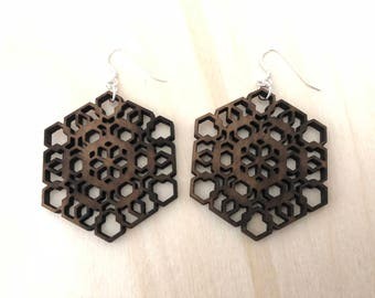 Sacred Geometry Wooden Earrings - Walnut Wood - Laser Cut - Wood Earrings - Geo2