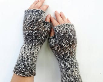 Knit fingerless gloves handknit armwarmers knitted winter handwarmers womens mittens brown mitts gift idea