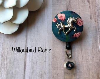 Unicorn Garden -Nurse Retractable ID Badge Reel/ RN Badge Holder/Doctor Badge Reel/Nurse Badge Holder/Student Nurse badge reel/ nursing gift