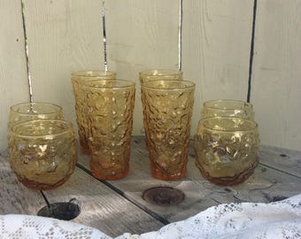 Vintage Set of Eight Amber Anchor Hocking Lido Juice and Water Glasses