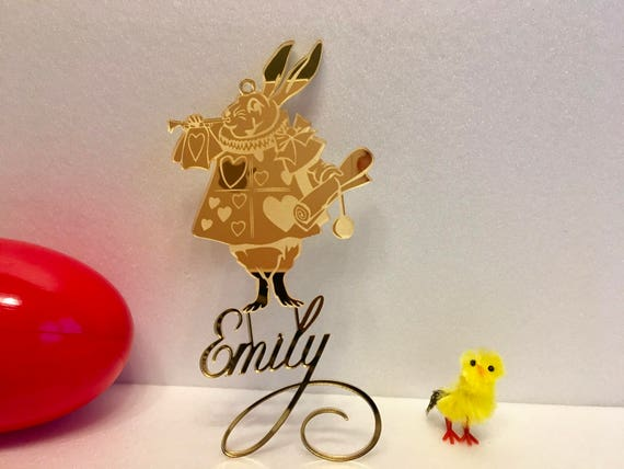Alice In Wonderland Personalized White Rabbit Ornament Hanging Personalised Disney Bunny Laser Cut Acrylic Easter Decor Custom Gift for Kids