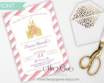 Princess Castle Birthday Invitation | Baby Girl Birthday | Birthday Invitation | Castle Invitation | Little Girl Party