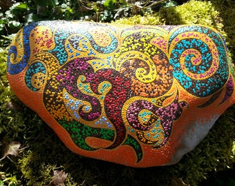 Dot painting stone Mystica affectionately hand-painted river Pebble, weatherproof and UV-resistant, 30 cm diameter