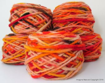 Limited Edition Handspun Hand dyed Pure Bulky Chilean Wool Knitting Multicolor Araucania Chunky red- black- orange- yarn 100g 3.5oz