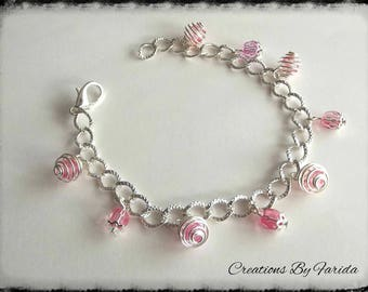 Transparent pink beads with silver chain bracelet