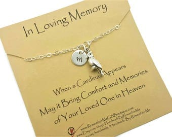Cardinal Memorial Jewelry, Personalized Memorial Jewelry, Cardinal Necklace, Remembrance Jewelry, In Loving Memory, Loss of Loved One