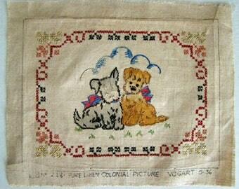 VOGART Embroidery Puppies Pure Linen Vintage 1930s Design, Cross Stitch Unframed, Vogart Unframed