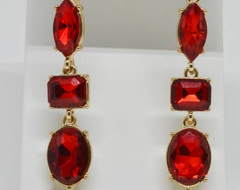 Stunning Gold Tone And Red Glass Earrings