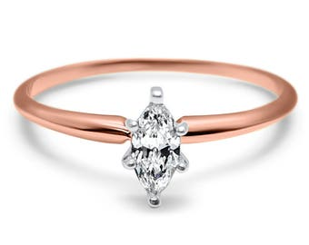 14k Rose Gold marquise solitaire Forever ONE Near Colorless Moissanite solitaire engagement ring - Marquise wedding set