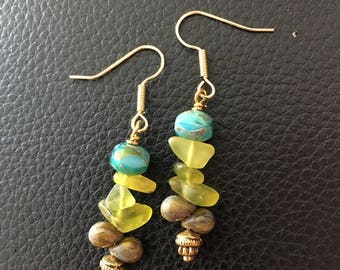 Earrings, Organic mix Czech glass beads, turquoise nuggets and aventurine dangle earrings.