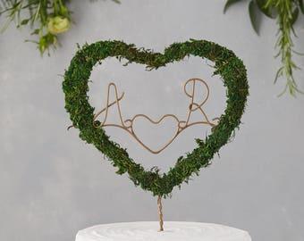 Boho cake topper, moss cake topper, heart cake topper, rustic cake topper, botanical wedding, rustic wedding, cake topper, green cake topper