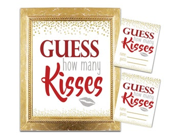 Bridal Shower How Many Kisses Game - Cranberry and Gold - Instant Printable Digital Download -diy Maroon Printables Gold Glitter Confetti