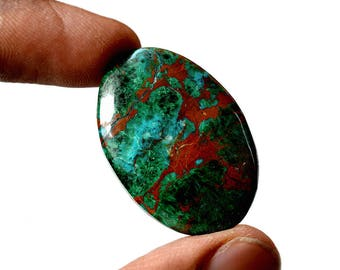 Chrysocolla 31.5 Cts AAA Quality Natural Gemstone Attractive Designer Oval Shape Cabochon 34x23x4 MM R14144