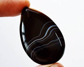 80% Sale Black Banded Agate 67.5 Cts Natural Gemstone Pear Shape Loose Cabochon 42x27x7 MM AC2777
