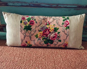 Vintage Floral Barkcloth & Ticking Fabric Cushion