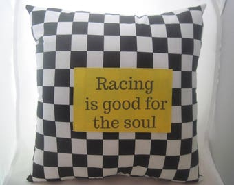 checkered flag pillow, race car pillow, finish line pillow, black and white pillow, racing quote pillow, checkered pillow