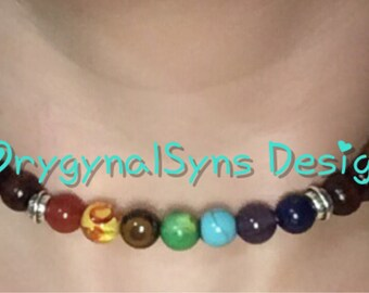 Wood Beads, Chakra, Colours, Yogo, Stretchy, Healing, Necklace