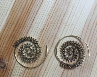 Brass Spiral Earrings - Gypsy Earrings - Spiral Jewelry - Brass Jewelry - Ethnic Earrings - Ethnic Jewelry