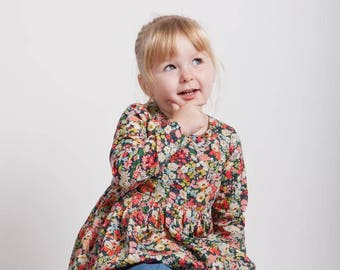 WILLOW Liberty Print Peplum Top with Long Sleeves, Girls Liberty of London Tana Lawn Handmade Blouse
