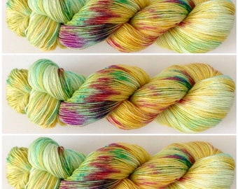 Exotic. Hand Dyed Yarn.  Hand painted variegated Sock Yarn. Superwash wool. 4 ply yarn. fingering weight. Sock yarn.