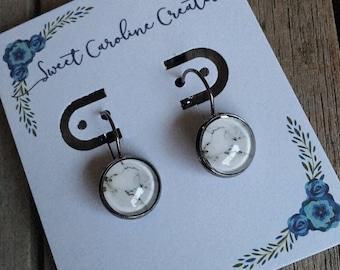 White Marble dangle earrings