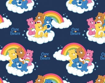 Camelot Care Bears Rainbow Fabric - Navy (Pre Order - Ships December 2017 - Sold by the half yard and cut continuously)