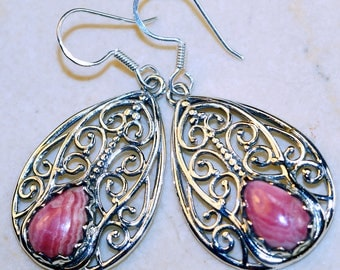 Stunning Rhodochroiste set in Solid 925 Sterling Silver Earrings