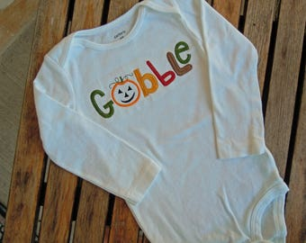 "Baby Thanksgiving ""Gobble"" Bodysuit, Baby Thanksgiving Outfit, Baby Turkey Day Outfit, ""Gobble"" Onesie, Size 18 Mos."