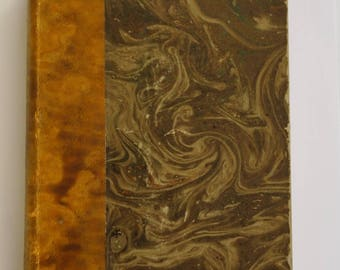 Antique art book: Meryon by Delteil and Daumier by Alexandre, leather spine, marbled covers and endpapers, gilt lettering, illustrated, 1927